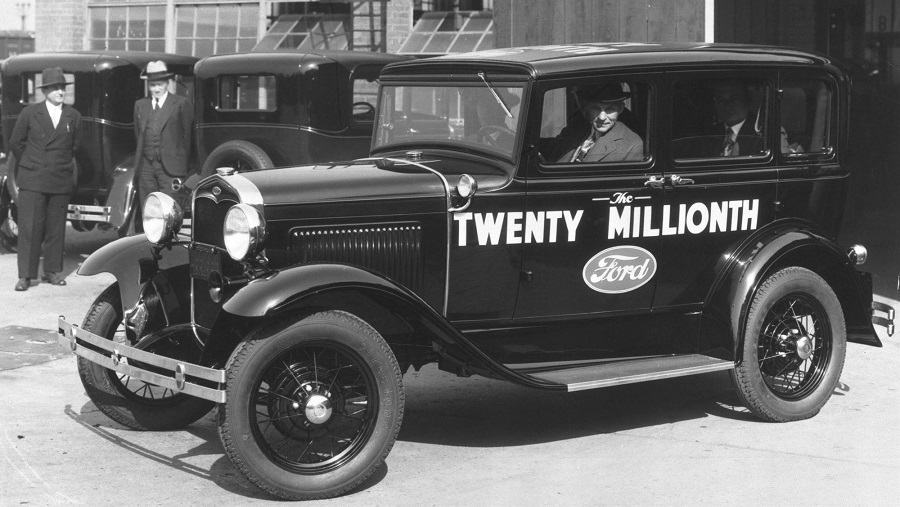 Henry Ford drives the 20 millionth Model A off the line.