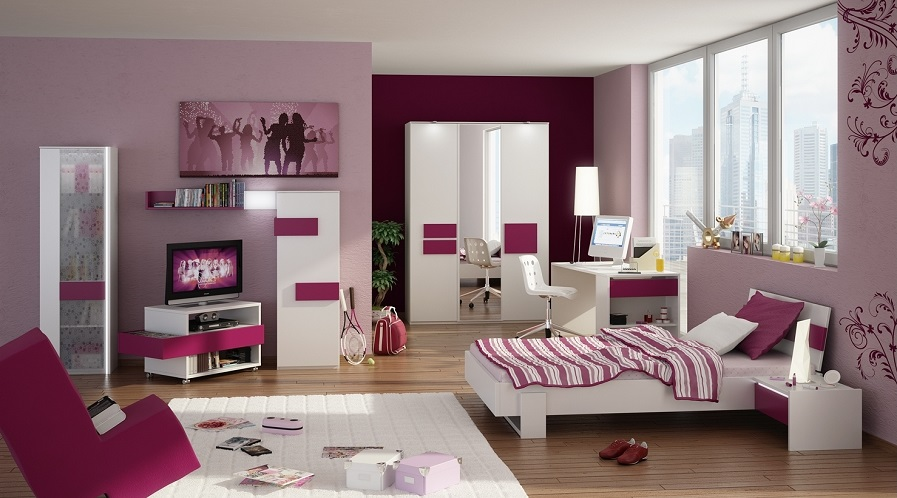 Feminine Themes Teens Room Interior Home Purple Flower Painting As in The Most Stylish in addition to Gorgeous Teens Room night stands regarding Your house - Design Decor